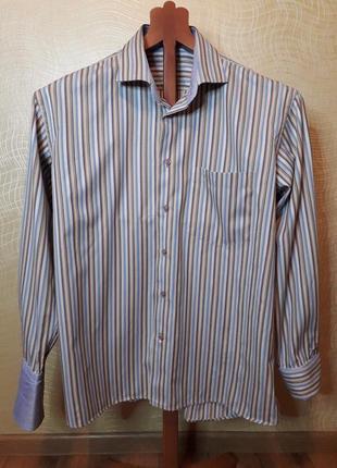 Мужская рубашка коттон сатин, манжет с отворотом