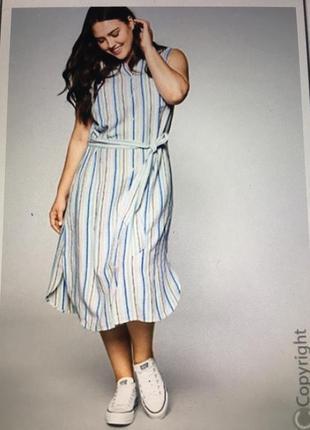 Летнее хлопково-льняное платье sheego 56