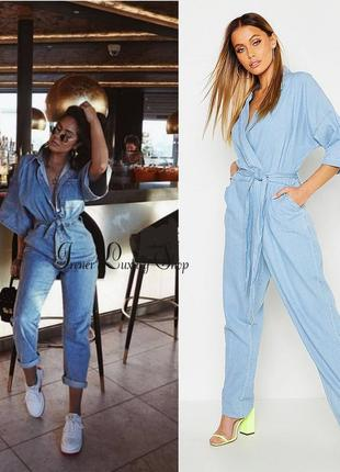 Модный джинсовый комбинезон оверсайз boohoo m-l