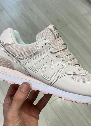 Шикарные женские кроссовки new balance 574 кожа