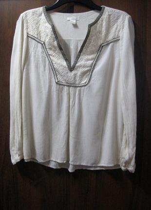 Блуза вышиванка h&m белая вышивка чёрная длинный рукав