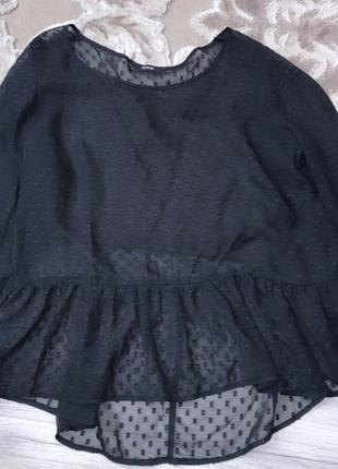 Чёрная прозрачная блузка в горошек