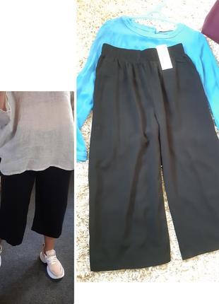 Стильные чёрные брюки/кюлоты, вискоза, zelando, p.34-36