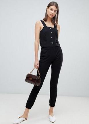 Брюки штаны штани джоггеры с манжетами зауженные черные asos
