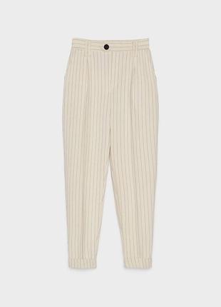 Брюки штаны штани высокая талия кежуал 7/8 кремовые в полоску новые bershka