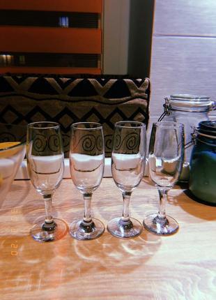 4 бокала для шампанского
