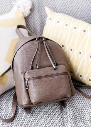 Большой кожаный итальянский рюкзак темно-бежевого цвета, borse in pelle (италия)