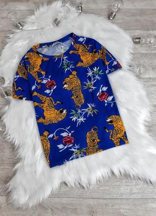 Синяя футболка с тигром zara
