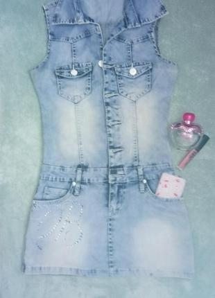 Женский летний джинсовый сарафан размер s
