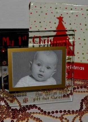 Фирменная фоторамка стекло с камушками мое первое рождество