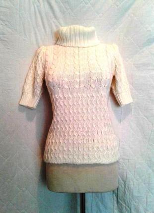 Белый крупной вязки джемпер с короткими рукавами ,m-l