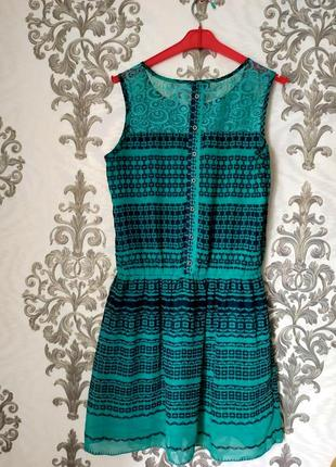 Турецкое мятное платье с кружевом на спине