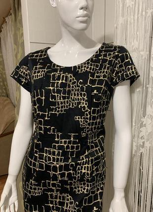 Шикарное платье миди платье с золотой нитью размер 42/50