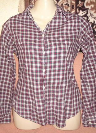 Рубашка montego. длинный рукав. в клеточку