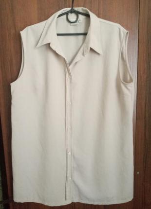 Удлиненная легкая блуза без рукавов