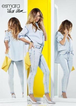 Дизайнерская джинсовая рубашка  , esmara от heidi clum , германия