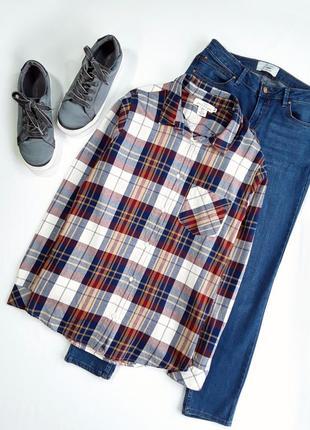 Рубашка в красно/синюю клетку от н&м,l.o.g.g.