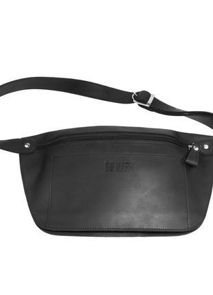 Кожаная поясная сумка черная