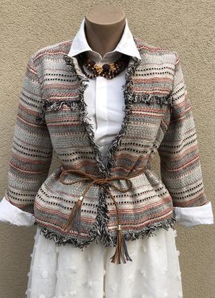 Жакет,пиджак,блейзер,бахрома,этно бохо стиль,(хлопок,полиэстер,шерсть,вискоза) ...