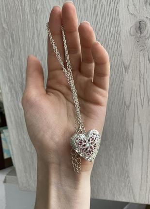 Кулон від мері кей серце з сваровскі, покритий не корозійним покриттям під срібло