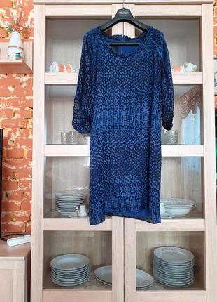 Натуральное шёлковое на подкладке с широкими прозрачными рукавами платье большого размера