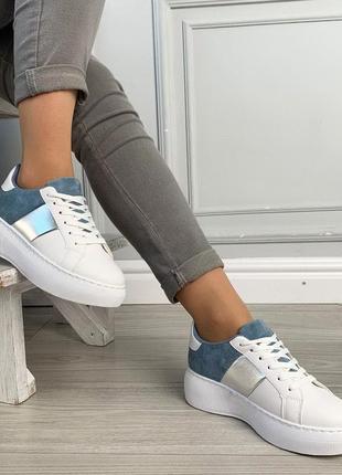 Новые шикарные женские бело-синие кроссовки