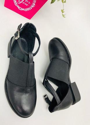 Lux обувь! натуральные кожаные женские туфли на удобном маленьком каблучке
