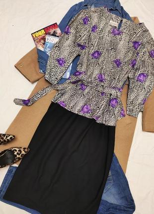 Essence платье большое батал чёрное белое сиреневое классическое миди с баской с поясом