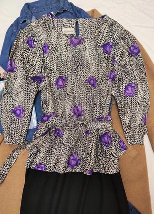 Essence платье большое батал чёрное белое сиреневое классическое миди с баской с поясом2 фото