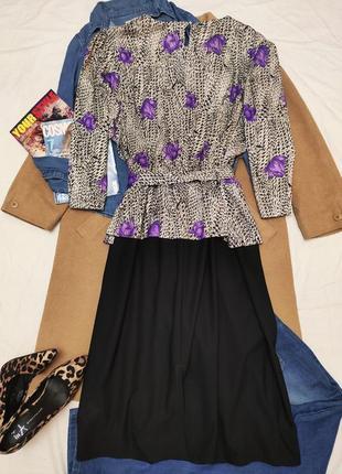 Essence платье большое батал чёрное белое сиреневое классическое миди с баской с поясом3 фото