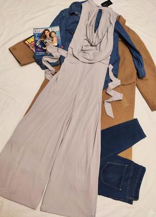 Комбинезон брючный большой брюки клёш серый голубой с поясом оверсайз новый new look