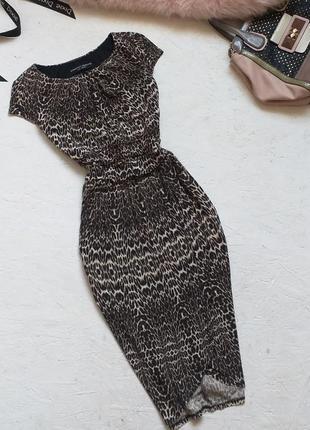 Стильное трикотажное платье миди с имитацией запаха в леопардовый принт от dorothy perkins