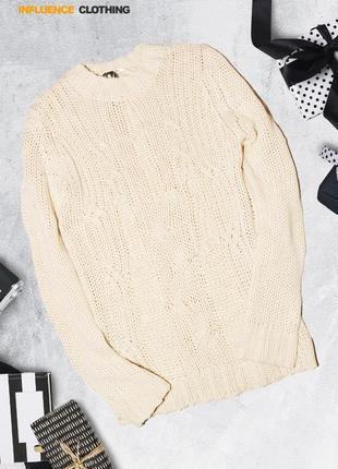 Нежный свитер грубой вязки influence