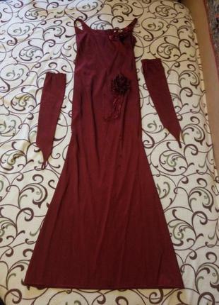 Продам вечернее длинное платье с длинными перчатками