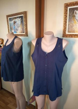 Синяя блуза из льна