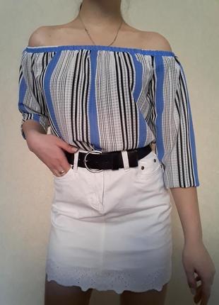 Легкая трендовая блуза со спущеным рукавом