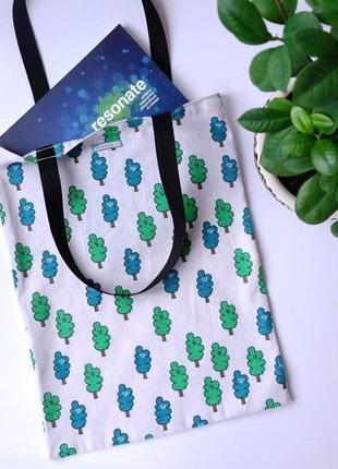 Сумка для покупок с деревьями, эко сумка, торба, сумка пакет, сумка шоппер 35(1)