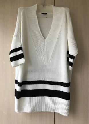 Белый хлопковый свитер, джемпер h&m / l-xxxl / oversize