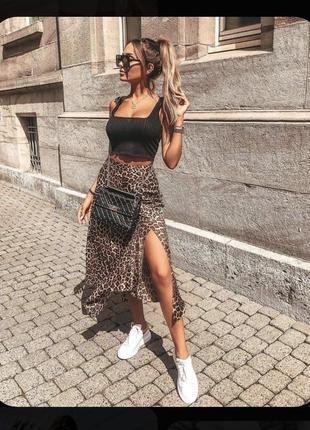 Стильная юбочка леопардовый принт миди юбка от missguided