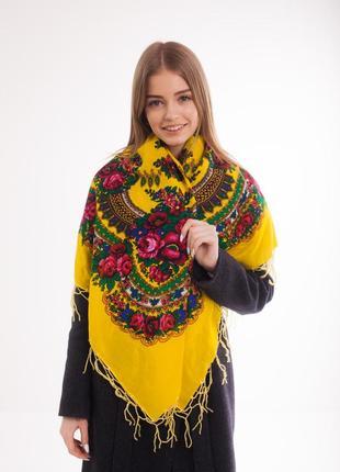 Платок шерстяной с бахромой (желтый)