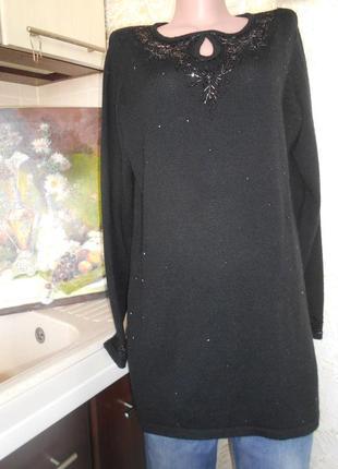 Marks&spencer# винтажный свитшот с шерстью р.18\20 и р.14#свитер с декором # #