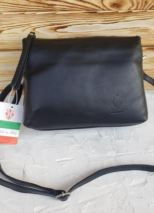 Женская кожаная итальянская сумка через плечо vera pelle жіноча шкіряна чорна