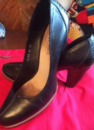 Розвантажуюсь,черные туфли, натуральная кожа, big rope