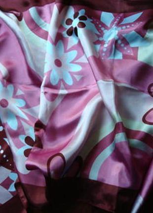 Шарф шелковый атласный марсала бордовый розовый мери кей mary kay мері кей
