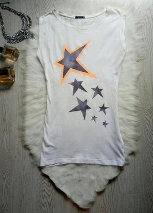 Белая длинная майка футболка с принтом рисунком звездами туника звездочки натурал хлопок