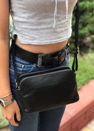 Женская кожаная итальянская сумка через плечо vera pelle чёрная жіноча шкіряна италия