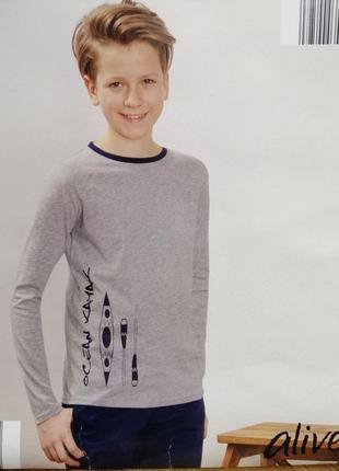 Серый лонгслив для мальчика футболка с длинным рукавом