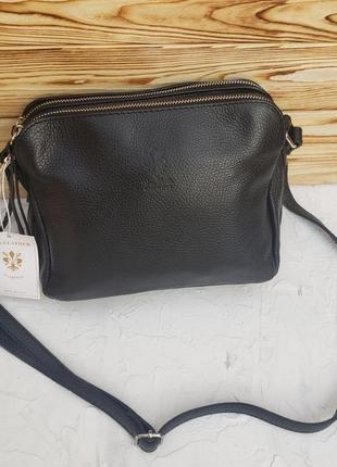 Женская кожаная итальянская сумка через плечо vera pelle италия жіноча шкіряна італія