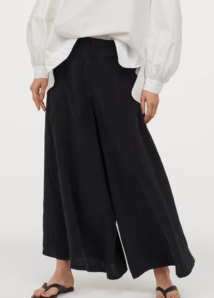 Актуальные широкие брюки кюлоты высокая посадка №400