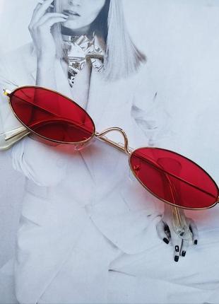Солнцезащитные очки маленький овал красный